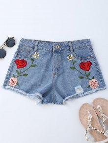 Embroidered Ripped Cutoffs Denim Shorts - Denim Blue