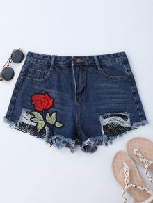 Mesh Panel Floral Embroidered Denim Shorts - Denim Blue