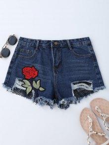 Mesh Panel Floral Embroidered Denim Shorts - Denim Blue