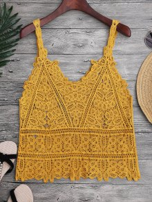 Hollow Out Crochet Cami Cover Up