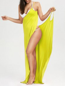 Beach Maxi Wrap Slip Dress - Yellow Xl