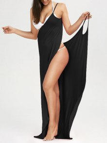 Beach Maxi Wrap Slip Dress - Black M
