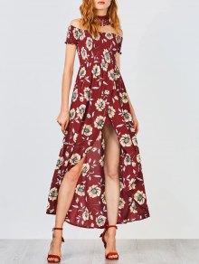 Floral Off Shoulder Shirred Asymmetric Maxi Dress - Burgundy M
