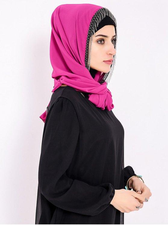 Chiffon Muslim Gossamer Metal Fringed Hijab Headscarf - TUTTI FRUTTI  Mobile
