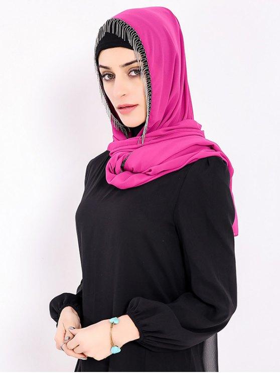 Gasa Musulmana Gossamer Metal Franjada Hijab Pañuelo - Cientos de Fructosa