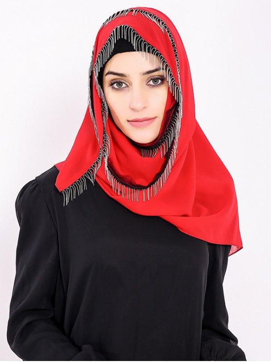 Chiffon Muslim Gossamer Feuillet Hijab Frisé À La Métal - Rouge