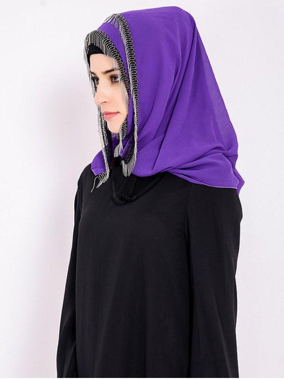 Chiffon Muslim Gossamer Metal Fringed Hijab Headscarf - PURPLE  Mobile