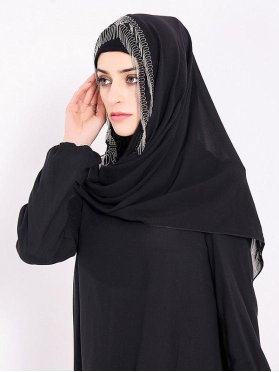 Chiffon Muslim Gossamer Metal Fringed Hijab Headscarf - BLACK  Mobile