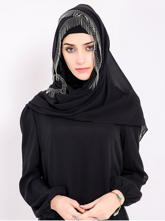 fancy Chiffon Muslim Gossamer Metal Fringed Hijab Headscarf - BLACK