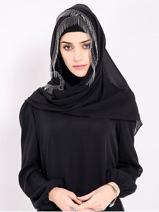 Chiffon Muslim Gossamer Feuillet Hijab Frisé À La Métal - Noir