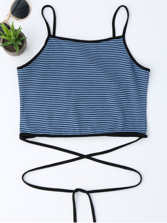 shop Cropped Stripes Strappy Tank Top - BLUE ONE SIZE