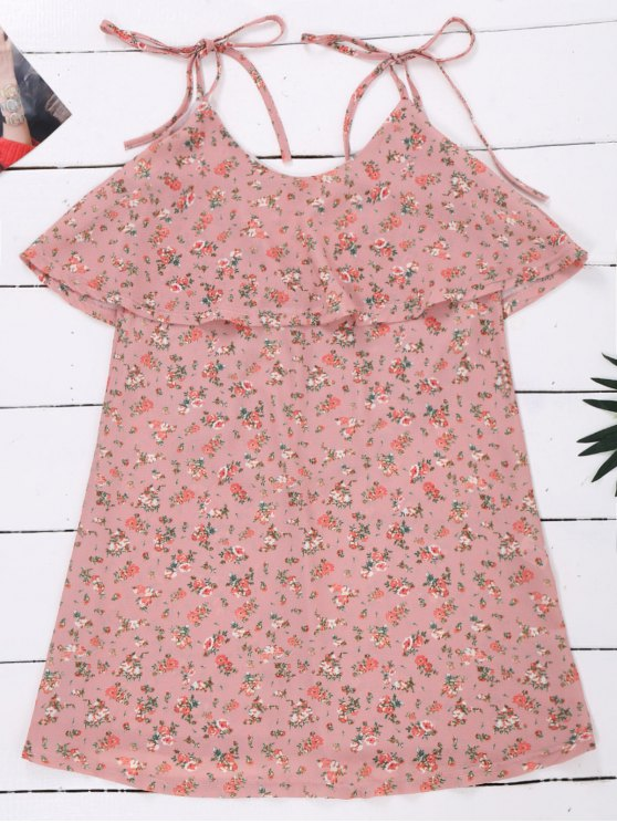 Cami Floral Ruffle Backless Dress - LIGHT PINK M Mobile