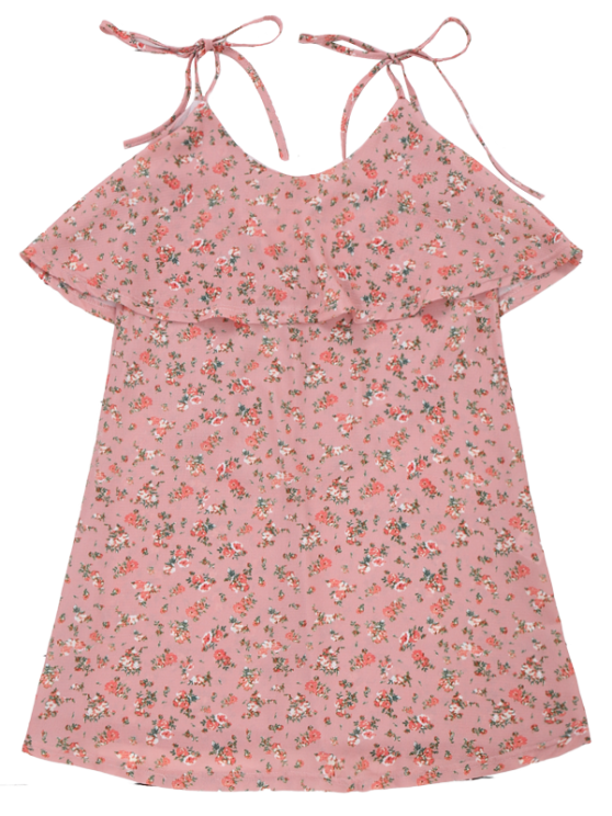 Cami Floral Ruffle Backless Dress - LIGHT PINK L Mobile