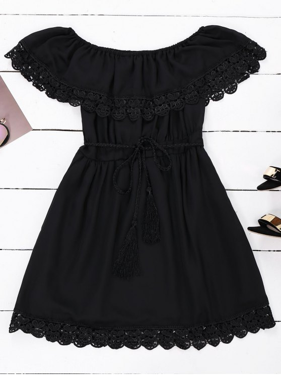 womens Off Shoulder Chiffon Dress With Belt - BLACK S