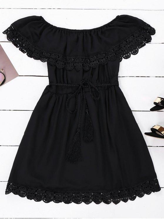 قبالة الكتف فستان الشيفون مع حزام - أسود L