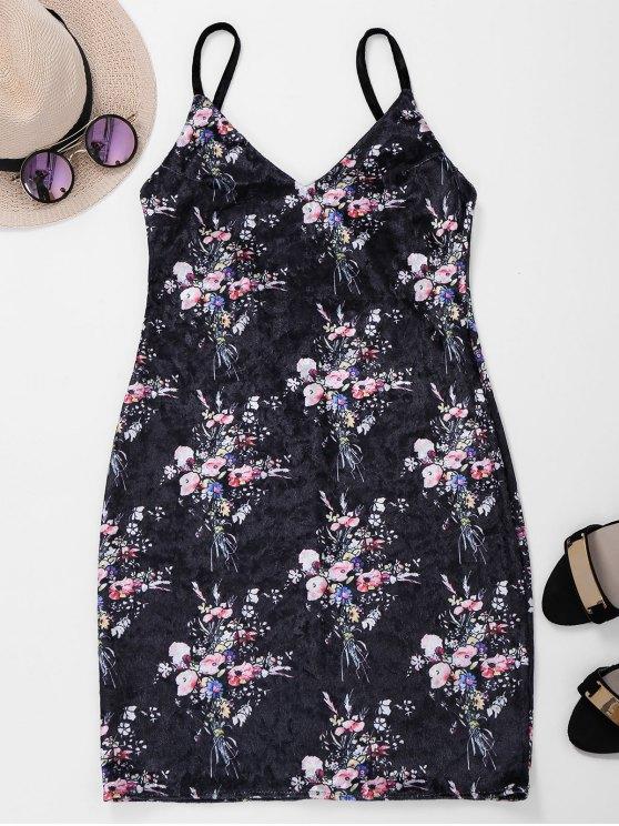 online Backless Lace Up Floral Velvet Dress - BLACK L