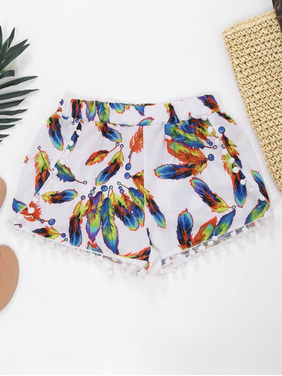 outfit Feather Print Hot Shorts With Pompon - WHITE M