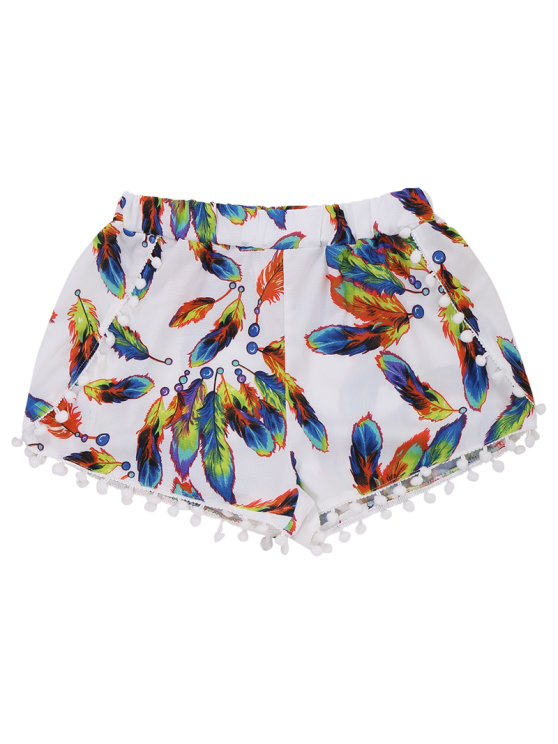 Feather Print Hot Shorts With Pompon - WHITE M Mobile