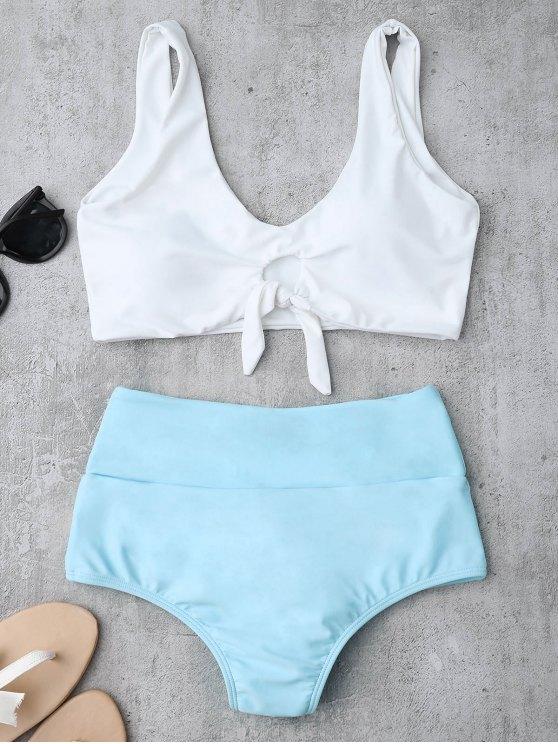 lady Knotted High Waisted Ruched Bikini Set - AZURE S
