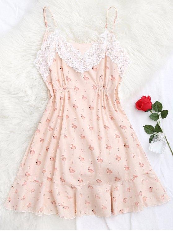 Vestido de dormir de Cami del vestido del cordón de la impresión animal - Rosa M