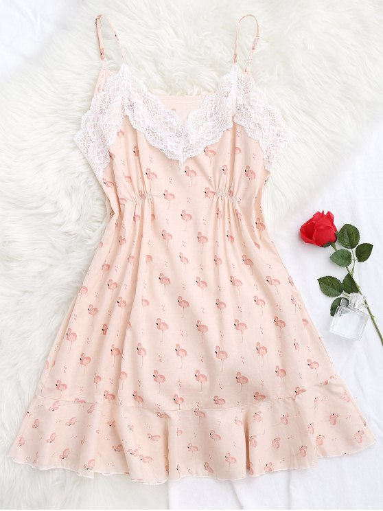 latest Flamingo Print Lace Panel Cami Sleep Dress - PINK S