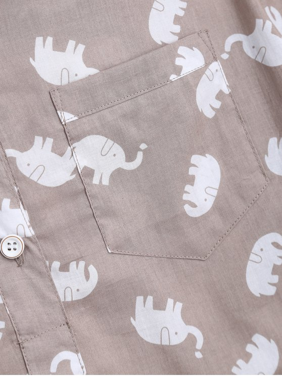 Elephant Print Blouse with Shorts Loungewear - LIGHT KHAKI M Mobile