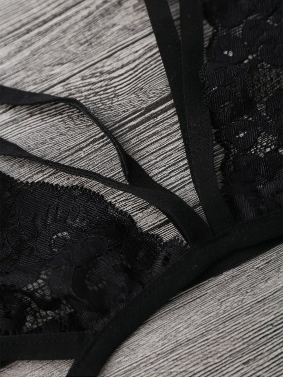 Sheer Lace Caged Lingerie Bra - BLACK S Mobile