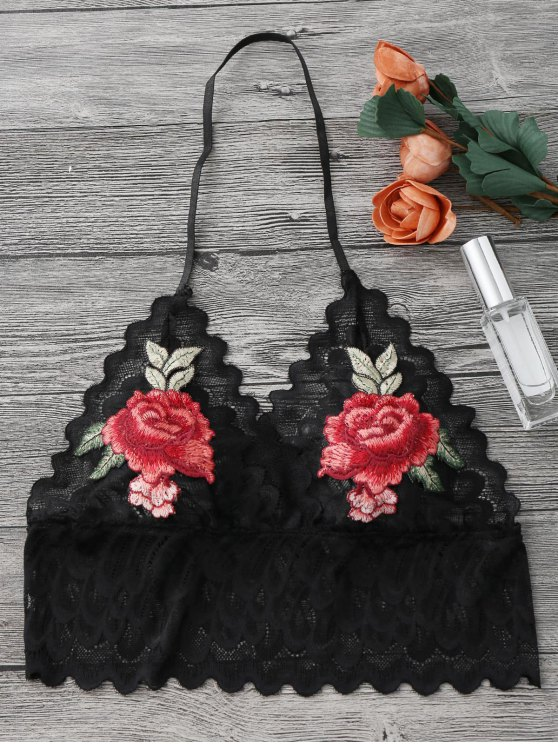 fancy Sheer Lace Floral Longline Bralette Top - BLACK S