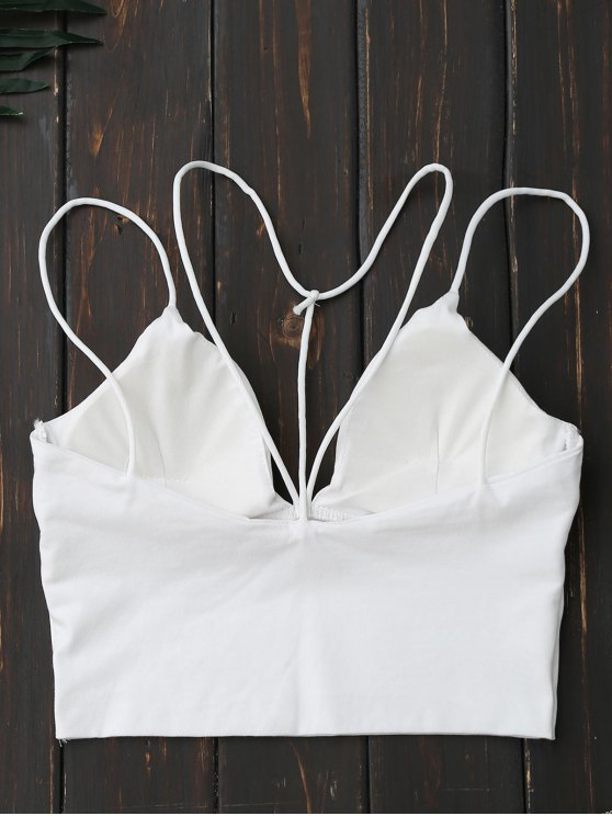 Criss Cross Cropped Strappy Tank Top - WHITE ONE SIZE Mobile