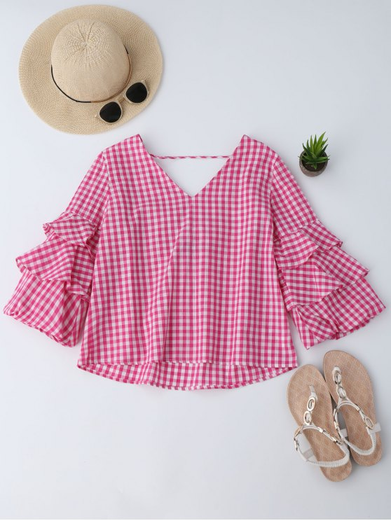 women Layered Sleeve Ruffles Checked Blouse - RED L
