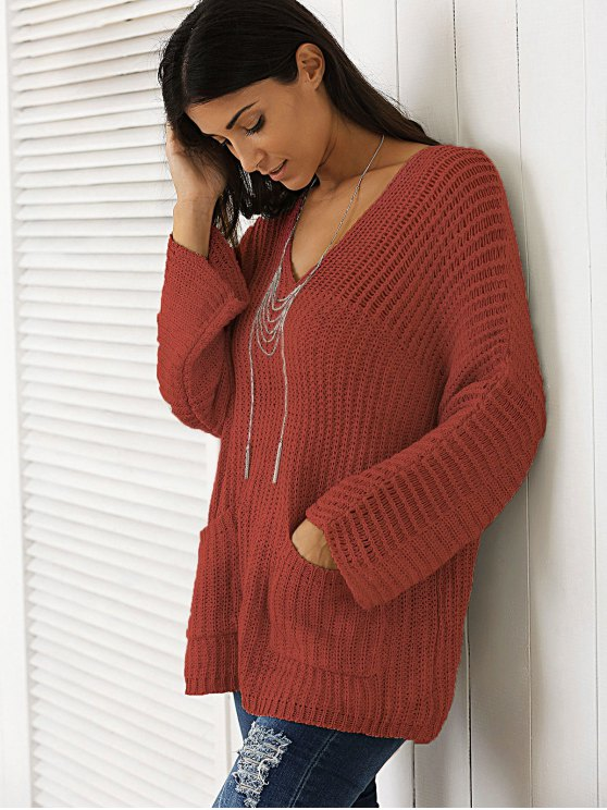 V Neck Chunky Sweater - WINE RED ONE SIZE Mobile