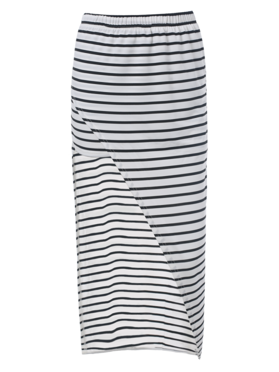 Striped High Waisted Irregular Hem Skirt - STRIPE M Mobile