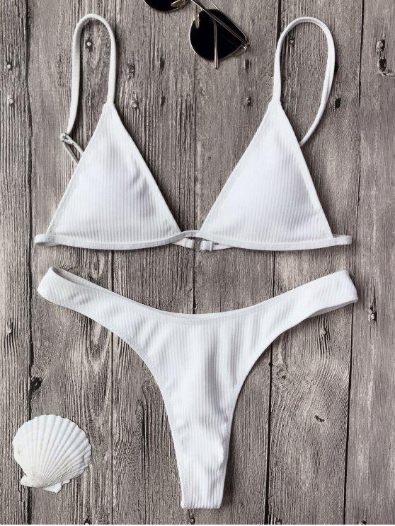 Brasier de Bikini Texturizado con Escote Pico con Thong - Blanco S
