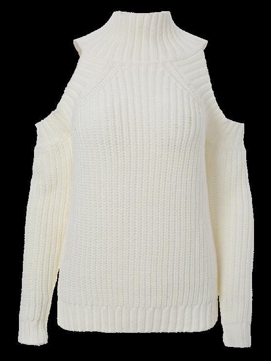 Cold Shoulder Funnel Collar Jumper - WHITE ONE SIZE Mobile
