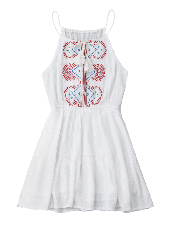 Embroidered Tassel Sundress - WHITE ONE SIZE Mobile