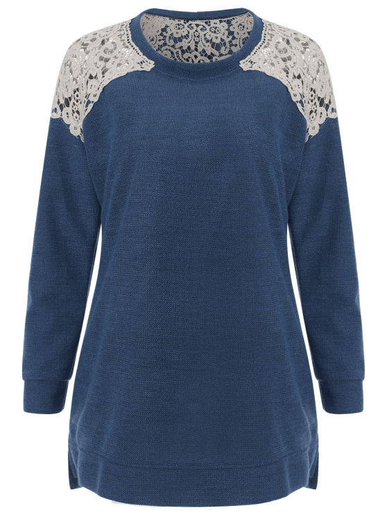 Lace Spliced Slit Sweater - BLUE S Mobile