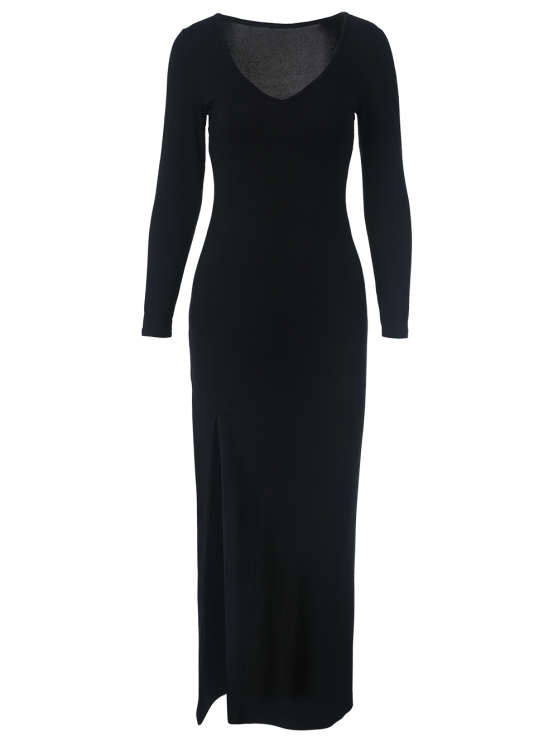 Plunge Neck Long Sleeve Maxi Dress with Slit - BLACK L Mobile