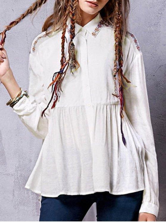 الكتان مزيج قميص مطرزة - أبيض L