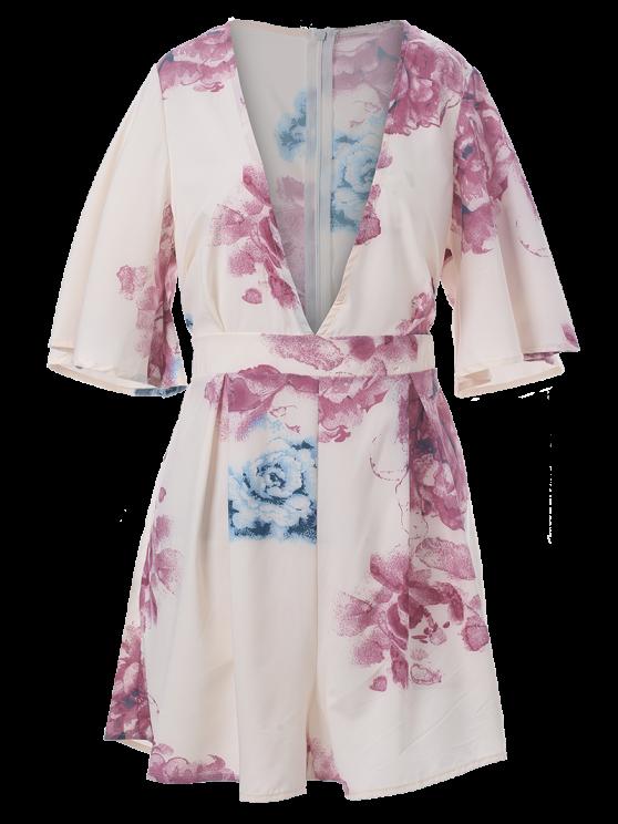Floral Plunging Neck Short Sleeve Romper - COLORMIX XL Mobile