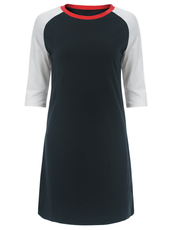 Raglan Sleeve Tunic T-Shirt Dress - PURPLISH BLUE M Mobile