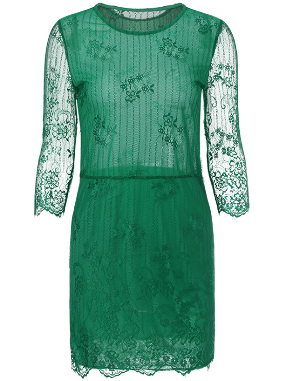 Scalloped Mini Floral Lace Dress - GREEN XL Mobile