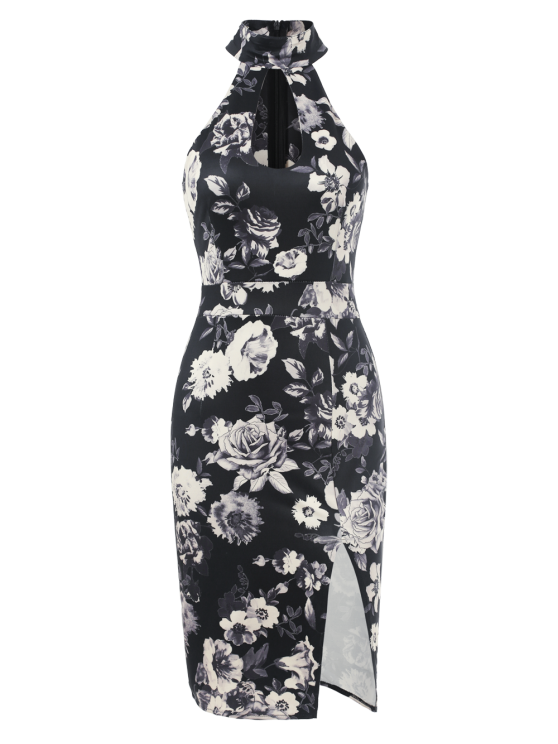 Halter Neck Floral Print Pencil Dress - FLORAL L Mobile