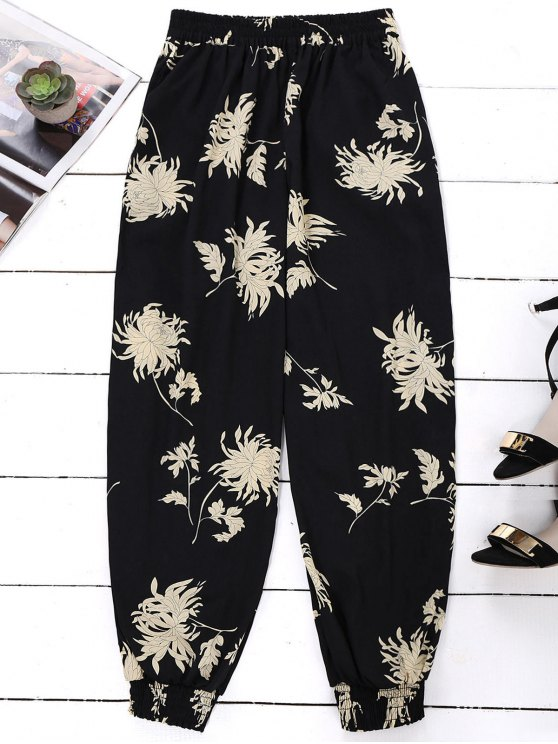 chic Floral Print Bloomer Holiday Pants - BLACK ONE SIZE