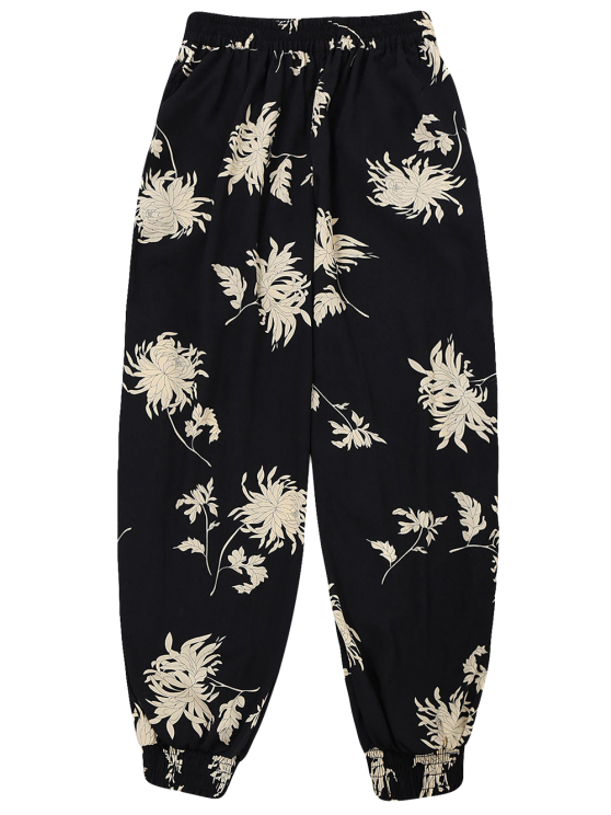 Floral Print Bloomer Holiday Pants - BLACK ONE SIZE Mobile