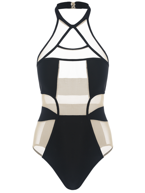 Mesh Panel Shaping One-Piece Swimwear - BLACK AND PINK S Mobile