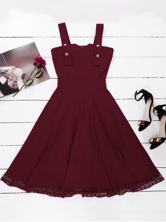 womens Lace Panel Sleeveless Fit and Flare Dress - WINE RED M