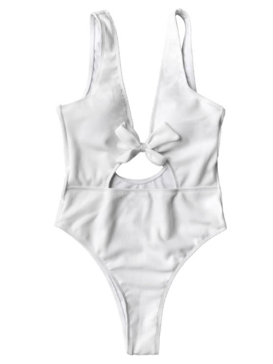 Bowknot Textured High Cut One Piece Swimsuit - WHITE L Mobile