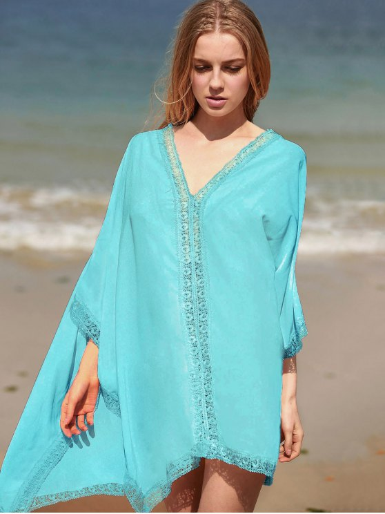 new Solid Color Lace Border V Neck Bat-Wing Sleeve Dress - LIGHT GREEN ONE SIZE(FIT SIZE XS TO M)