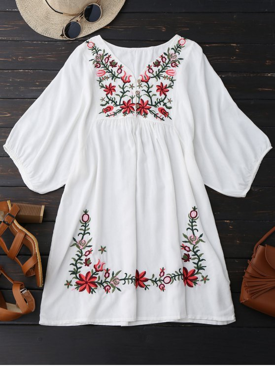 Vestido bordado floral del camionero del cuello de V - Blanco Única Talla