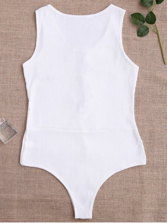 Ribbed Floral Applique Tie Front Teddy - WHITE M Mobile
